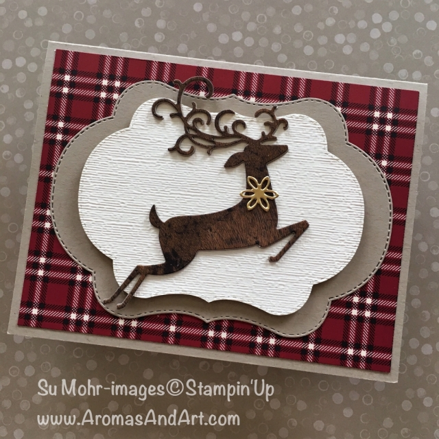 By Su Mohr for What Will You Stamp #183; Click READ to go to my blog for details! Featuring: Stitched Seasons, Dashing Deer, Detailed Deer, Stampin' Up, Subtle embossing folder, Wood Textures, Festive farmhouse; #blendedseasons #stitchedseasons #wwys183, #subtletexture #festivefarmhouse #dashingdeer #christmascards #handmadecards #holiday2018