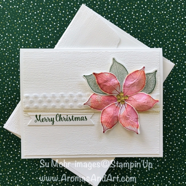 By Su Mohr for Fab Fri 143; Click READ to go to my blog for details; Featuring: Rooted in Nature, Star of Light, Bunch of Banners, Polka Dot Tulle Ribbon, Stampin' Spritzer, Subtle embossing; #poinsettiachristmascard #pinkpoinsettia #3D #stampinspritzer #naturesroots #rootedinnature #holidaycards #handmadecards #christmascards