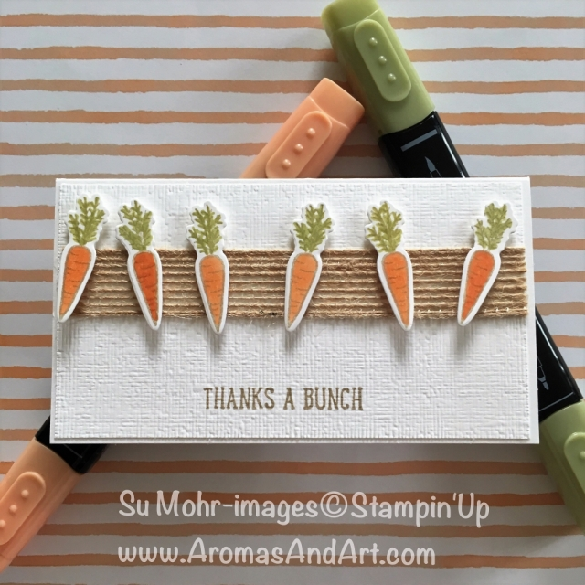 By Su Mohr for PP406; Click READ to go to my blog for details! Featuring: Narrow Notecards & Envelopes; Subtle Textured embossing folder; Stampin' Blends; Burlap Ribbon; #thanksabunch #stampinblends #narrownotecardsandenvelopes #pp406