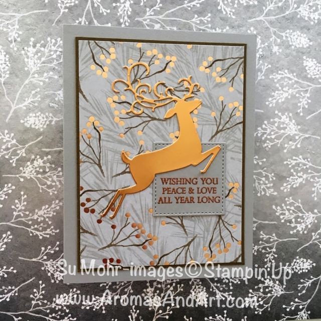 By Su Mohr for cts287; Click READ to go to my blog for details! Featuring: Joyous Noel, Detailed Deer, Copper Foil, heat embossing, Merry Christmas to All; #detaileddeer #dashingdeer #merrychristmastoall #copperfoil #joyousnoel #heatembossing #christmascards #stampinup