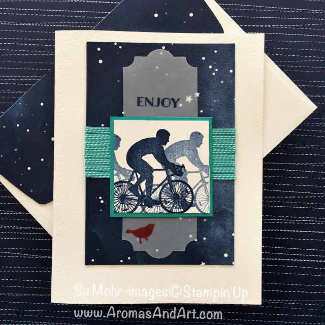 By Su Mohr for GDP149 and PP403; Click READ to go to my blog for details! Featuring: Enjoy Life, Banners for You, Twinkle Twinkle DSP, Subtle embossing folder, Everyday Label Punch; #cycling #bicycles #birthdaycards #masculinecards #handmadecards #stampinup #enjoylife
