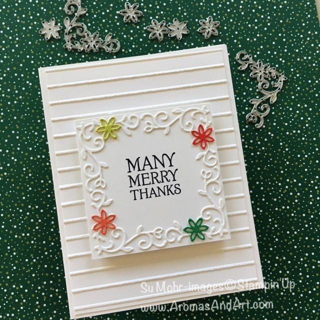 By Su Mohr for Fab Fri144; Click READ to go to my blog for details! Featuring: Dashing Deer, Detailed Deer, Simple Stripes, thank you cards, 2018 Holiday Catalog, handmade cards; #dashingdeer #detaileddeer #simplestripes #manymerrythanks #handmadecards #stampinup #fabfri144