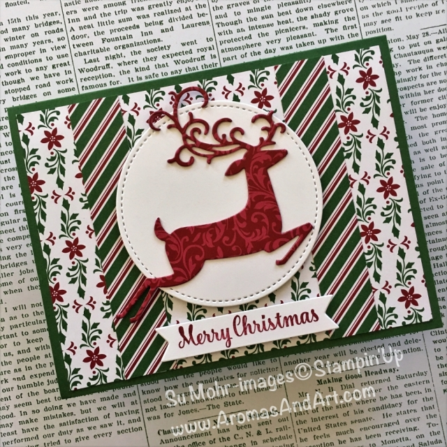 By Su Mohr for tgifc177; Click READ to go to my blog for details! Featuring: Dashing Along DSP, Detailed Deer dies, Stitched Shapes Dies, Bunch of Banners; #dashingalongpaper #detaileddeer #Christmascards #stampinup #stitchedshapes #handmadecards #staroflight