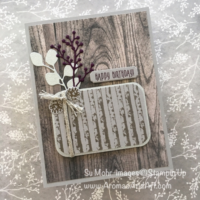 By Su Mohr for #cts289; Click READ to go to my blog for details! Featuring: Winter Woods, Wood Textures, Galvanized Metallic Paper, Detailed Trio Punch, Frosted Bouquet, Merry Christmas; #masculinebirthdaycards #winterwoods #galvanizedmetallic #birthdaycards #handmadecards #woodtextures