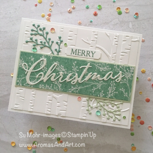 By Su Mohr for PP412; Click READ to go to my blog for details! Featuring: Merry Christmas To All, Merry Christmas dies, Dazzling Glimmer Paper, Woodland embossing, Iridescent Sequins, Frosted Floral DSP; #christmascards #handmadecards #stampinup #merrychristmastoall, #woodlandembossing #frostedfloral #pp412