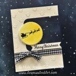 Santa Flies Over the Moon Christmas Card