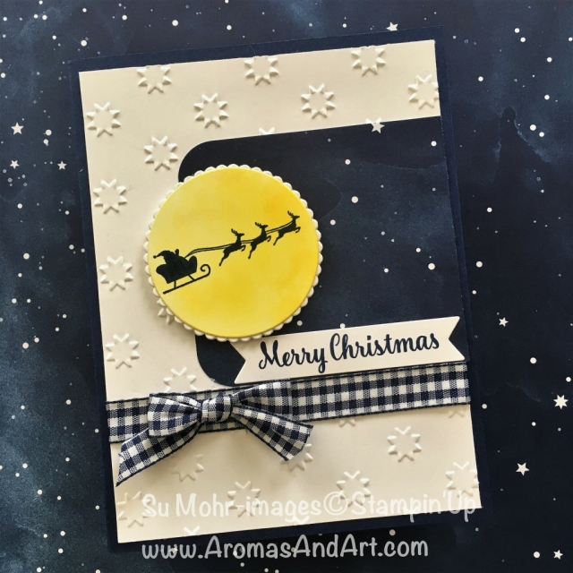 By Su Mohr for cts288; Click READ to go to my blog for details! Featuring: Hearts Come Home, Star of Light, Twinkle Twinkle DSP, gingham ribbon, Layering Circles, Oh My Stars embossing folder; #heartscomehomeforchristmas #santa #christmascards #holiday2018 #handmadecards #diy #cts288