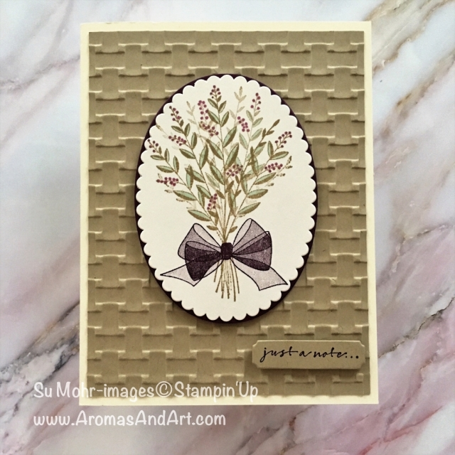 By Su Mohr for PP409; Click READ to go to my blog for details! Featuring: Wishing You Well, Stampin' Blends, Layering Ovals, Basket Weave embossing, handmade cards, Stampin' Up!, note cards; #wishingyouwell #layeringcirclesdies #stampinblends #stampinup #notecards #bows #handmadecards #diy