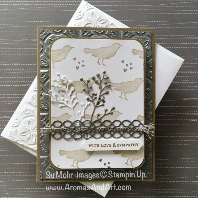By Su Mohr for Kre8tors Sept Blog Hop; Click READ to go to my blog for details! Featuring: Tin Tile, Galvanized Metallic paper, Botanical Bliss, Petals & More, Itty Bitty Greetings, Frosted Bouquet; #sympathycards #botanicalbliss #flourishingphrases #galvanizedmetallicpaper #frostedbouquet #tintileembossing