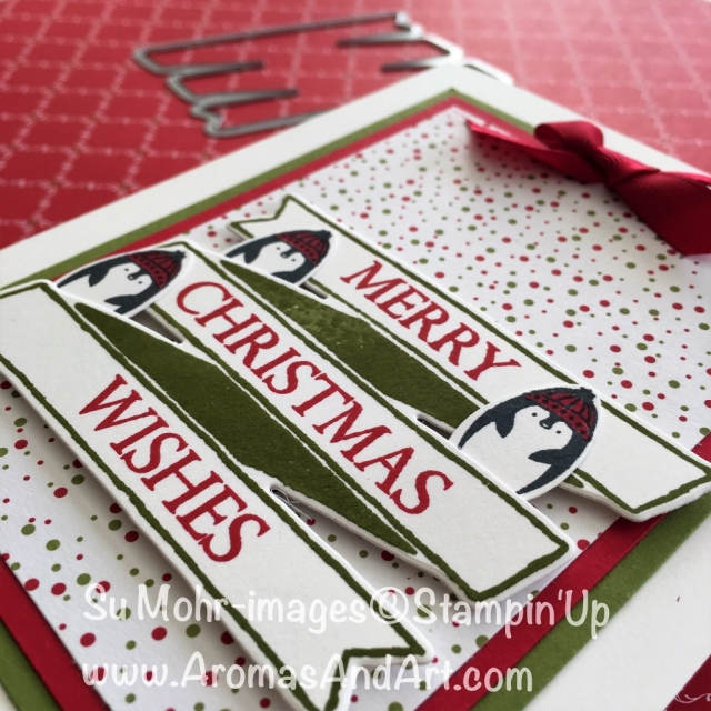 By Su Mohr for cts290; Click READ to go to my blog for details! Featuring: Making Every Day Bright, Banners for You, Bunch of Banners, Christmas Bulb Punch, Under the Mistletoe, Real Red Mixed Satin Ribbon, Stamparatus; #christmascards #makingeverydaybright #christmasbulbpunch #bunchofbanners #bannersforyou #stampinup #underthemistletoe #handmadecards #penguins