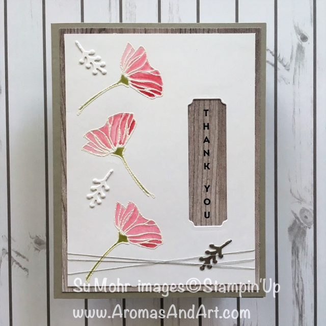 By Su Mohr for WWYS175 and tgifc 175; Click READ to go to my blog for details; Featuring: Oh So Eclectic, Wood Textures, Vertical Greetings, heat embossing, coloring; #ohsoeclectic #wwys184 #tgif175 #woodtextures #watercolor #thankyoucards #heatembossing #handmadecards #stampinup