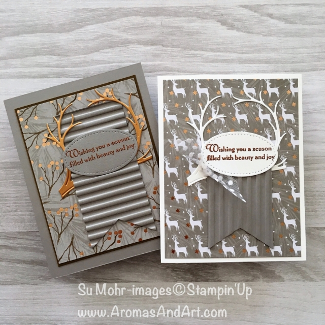 By Su Mohr for FF147; Click READ to go to my blog for details; Featuring: Joyous Noel, Still Night, Night owl, Corrugated, Stitched Shapes, Stampin' Up; #pp147 #joyousnoel #copperfoil #nightowl, #stillnight #corrugated #christmascards #treebranch #deerantlers