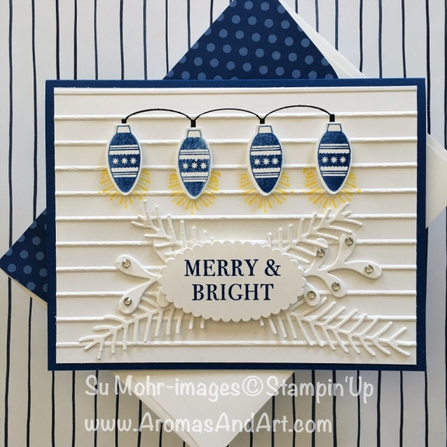 By Su Mohr for Festive Fri; Click READ to go to my blog for details! Featuring: Making Every Day Bright, Christmas Bulb Punch, Pretty Pines dies, Layering Ovals, Hearts Come Home; #worldcardmakingday #makingeverydaybright #christmascards #handmadecards #diy #holidaycards #stampinup