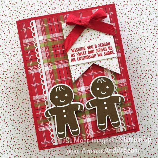 By Su Mohr for Fab Fri 145; Click READ to go to my blog for details; Featuring: Cookie Cutter Christmas, Cookie Cutter Builder Punch, Under the Mistletoe DSP, Banner Triple Punch; #christmascards #handmadecards #gingerbread #cookiecutterchristmas #christmascookies #stampinup #ff145