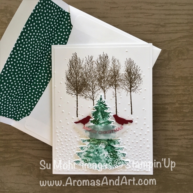 By Su Mohr for What Will You Stamp?; Click READ to go to my blog for details! Featuring: Winter Woods, In the Woods, Softly Falling, Botanical Tags, Duet Banner Punch, Beautiful Layers die; #christmascards #stampinup #winterwoods #inthewoods #christmastree #birds #handmadecards #diy