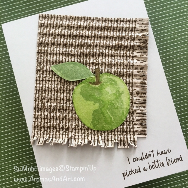 By Su Mohr for Paper Players 415; Click Read to go to my blog for details! Featuring: Picked for You stamp set, Burlap background stamp, Corrugated embossing folder, Lemon Builder Punch; #pickedforyou #apples #burlap #handmadecards #stampinup #pp415
