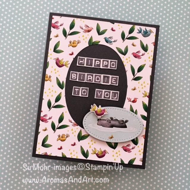By Su Mohr for Seize the Birthday; Click READ to go to my blog for details! Featuring: Animal Expedition DSP, Labeler Alphabet, Stitched Shapes dies, Hippo; #hippobirdietoyou #birthdaycards #handmadecards #animalexpedition #animalouting #humorousbirthday