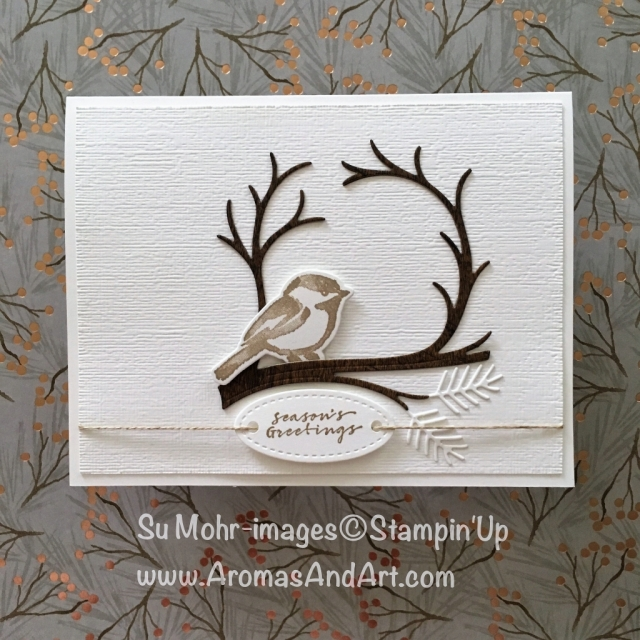 By Su Mohr for FMS358; Click READ to go to my blog for details! Featuring: Petal Palette Bundle, Wood Textures DSP, Wishing You Well stamp set, Night Owl die set, Subtle Textured embossing; #holidaycards #handmadecards #christmascards #sparrows #birdsoncards #birds #petalpalette #stampinup #fms358