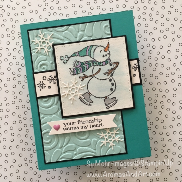 By Su Mohr for PP416; Click READ to go to my blog for details! Featuring: Spirited Snowmen, Seasonal Layers dies, Swirls & Curls embossing, Stampin' Blends; #snowmen #spiritedsnowmen #handmadecards #Christmascards #holidaycards #snow #diy #stampinup