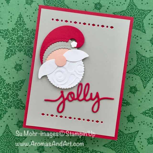 "By Su Mohr; Click READ to go to my blog for details! Featuring: Layering Circles dies, Lemon Builder punch, White Velvet Sheets, 1/2"" circle punch; #howtomake #punchart #punchartsanta #christmascards #santaoncards #stampinup #handmadecards #craftinstructions"