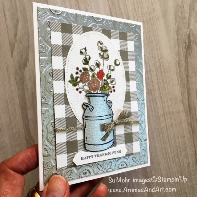 By Su Mohr for FMS360; Click READ to go to my blog for details! Featuring: Country Home stamp set, Galvanized Metallic Paper, Buffalo Check, Tin Tile, Braided Linen Trim; #thanksgivingcards #handmadecards #countryhome #galvanizedmetallicpaper #buffalocheck #stampinup #fms360 #stitchedshapes