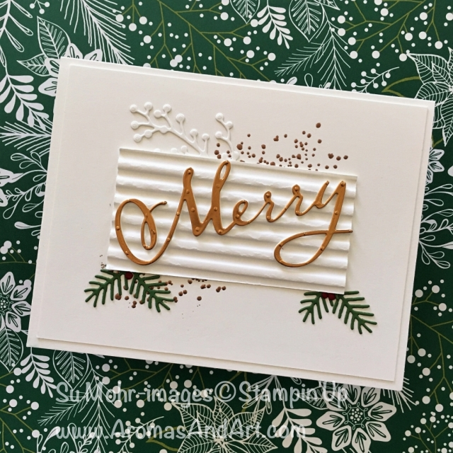 By Su Mohr for LIM383; Click READ to go to my blog for details! Featuring: Merry Christmas dies, Corrugated embossing, Copper Foil, heat embossing; #christmascards #handmadecards #cleanandsimple #dimension #corrugatedembossing #merrychristmas #stampinup #crafts #diy