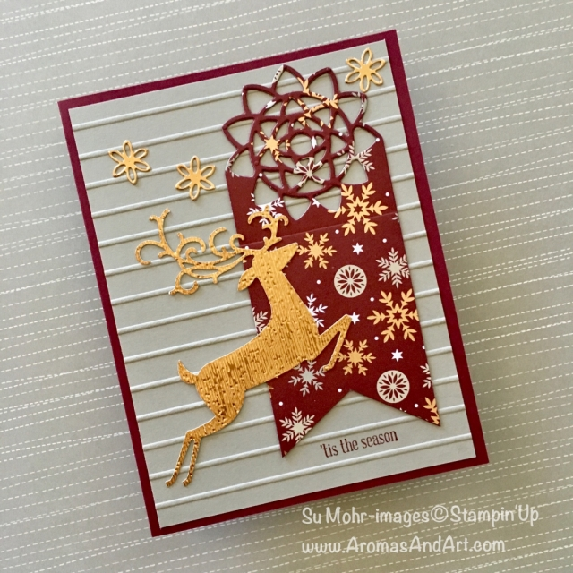 By Su Mohr for GDP162; Click READ or VISIt to go to my blog for details! Featuring: Detailed Deer dies, Botanical Tags dies, Copper Foil, Simple Stripes embossing, Banner Triple Punch; #christmascards #detaileddeer #handmadecards #botanicaltags #tagsoncards #joyousnoel #tistheseason #quickandeasy