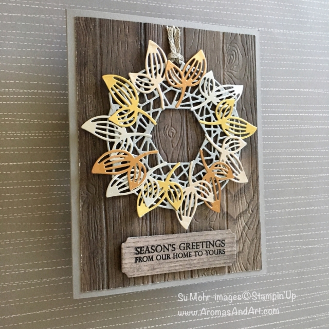 By Su Mohr for FMS362; Click READ or VISIT to go to my blog for details! Featuring: Beautiful Layers die set, Wood Textured paper, Galvanized Metallic Paper, Foil Sheets, Pinewood Planks embossing, Merry Christmas To All stamp set; #wreaths #wreathsoncards #christmascards #holidaycards #handmadecards #diy #stampinup