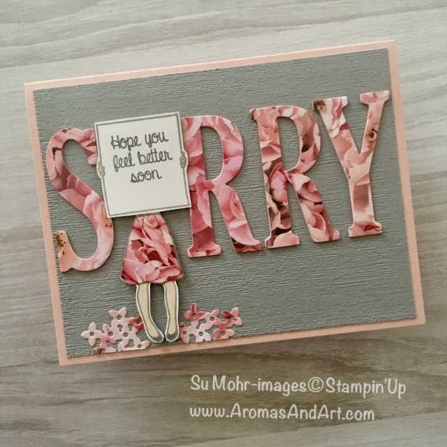 By Su Mohr for Kylie Bertucci's Top Ten Winners October 2018 Blog Hop; Click READ to go to my blog for details! Featuring: Large Letters dies, Hand Delivered stamp set, Petal Promenade DSP, Subtle embossing folder; #sorry #getwellcards #sorrycards #kyliebertucci #topten #winners #handmadecards #handdelivered #stampinup
