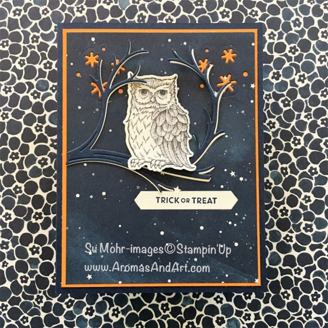 By Su Mohr for #WWYS189; Click READ to go to my blog for details! Featuring: Still Night stamp set, Night Owl dies, Itty Bitty Greetings, Stampin Up; #halloweencards #handmadecards #owls #stillnight #nightowl #stampinup #spookystories