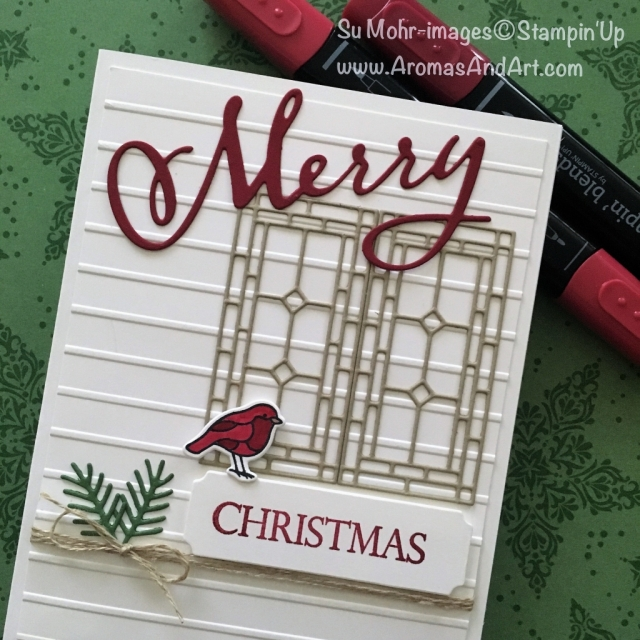 By Su Mohr for Festive Fri; Click READ to go to my blog for details! Featuring: Merry Christmas to All, Painted Glass, Stained Glass, Simple Stripes; #christmascards #handmadecards #cardinal #stainedglasswindows #birdsoncards #ff0018