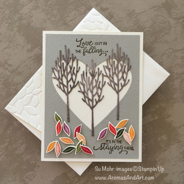 By Su Mohr for GDP159 and PP413; Click Read to go to my blog for details! Featuring: In the Woods die set, Beautiful Bouquet stamp set, Bouquet Bunch dies, Stampin' Up ink pads; #anniversarycards #handmadecards #inthewoods #beautifulbouquet #bouquetbunch #treesoncards #fall #fallleaves