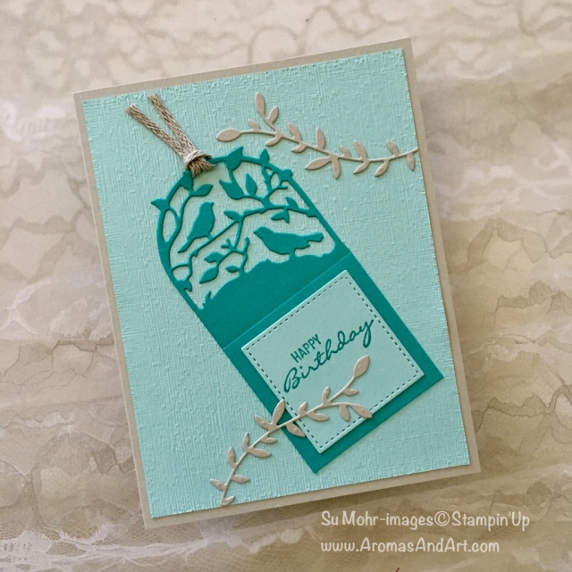 By Su Mohr for LIM382; Click READ to go to my blog for details! Featuring: Botanical Bliss stamp set, Botanical Tags dies, Braided Linen Thread, Stitched Shapes dies, Subtle Textured embossing; #birthdaycards #birds #birdsoncards #handmadecards #tags #gifttags #lim382
