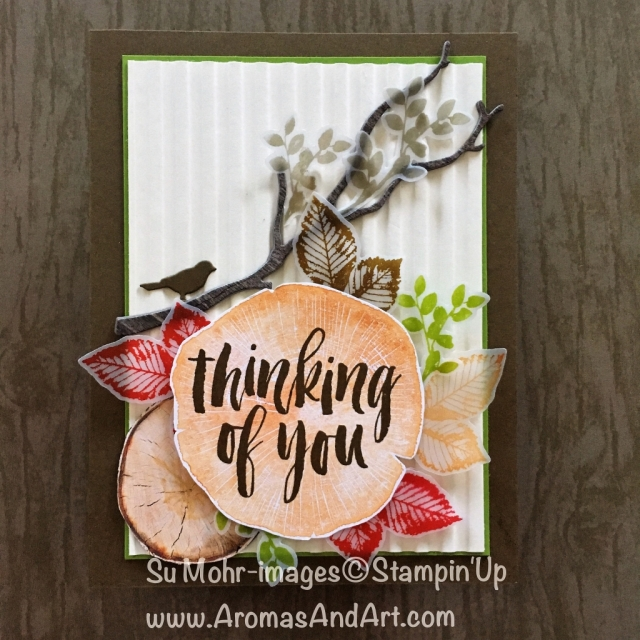 By Su Mohr for Kre8tors Oct 2018 Blog Hop; Click READ to go to my blog for details! Featuring: Rooted in Nature, Nature's Roots, Seasonal Layers, Botanical Tags, Corrugated embossing, Fall colors, Stampin' Up; #fallcolors #thanksgivingcards #rootedinnature #naturesroots #stampinup #handmadecards #diy #woodtextures