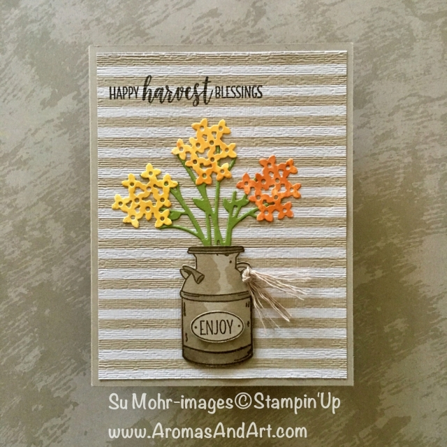 By Su Mohr for GDP161; Click READ to go to my blog for details! Featuring: Country Home stamp set, Bouquet Bunch dies, Stampin' Blends, Subtle Textured embossing, 6X6 DSP; #thanksgivingcards #countryhome #bouquetbunch #antiquecrock #flowers #paperflowers #handmadecards #diy #crafts