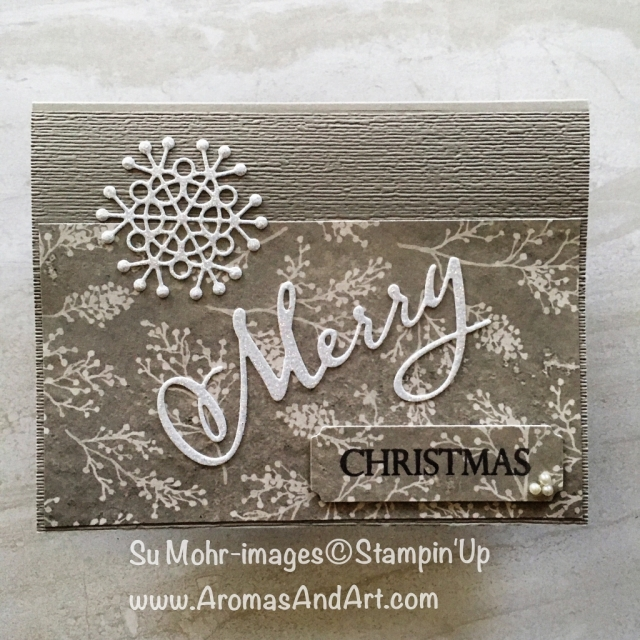 By Su Mohr for cts298; Click READ or VISIT to go to my blog for details! Featuring: Merry Christmas To All, Seasonal Layers die set, Frosted Floral DSP, Sparkle Glimmer paper; #christmascards #handmadecards #diy, xmascards #snowflakes #sparkleglimmerpaper #subtletexture #stampinup