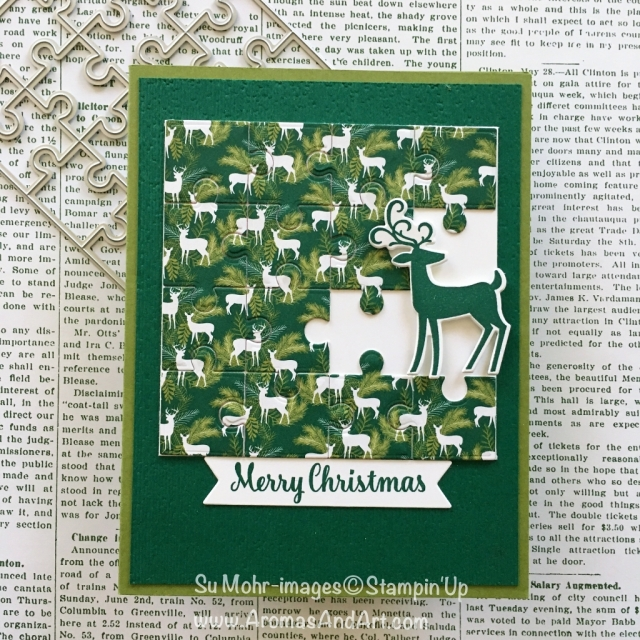 By Su Mohr for GDP166; Click READ or VISIT to go to my blog for details! Featuring: Puzzle Pieces die set, Under the Mistletoe DSP, Dashing Deer Bundle, Subtle Textured embossing; #christmascards #xmascards #jigsawpuzzles #memories #handmadecards #puzzles #deer #holidaycards
