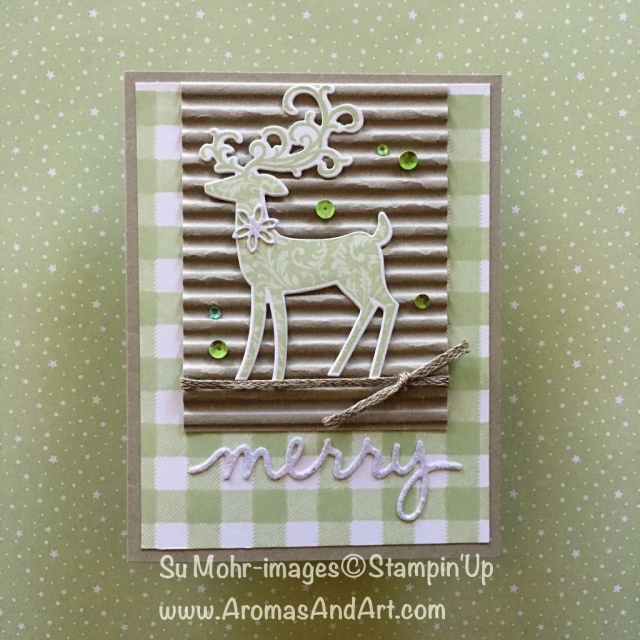 By Su Mohr for GDP164; Click READ or VISIT to go to my blog for details! Featuring: Dashing Deer stamp set, detailed Deer die set, Buffalo Check stamp, Corrugated embossing, Sparkle Glimmer Paper, #christmascards #dashingdeer #detaileddeer a3handmadecards #xmascards #reindeer #iridescent #buffalocheck