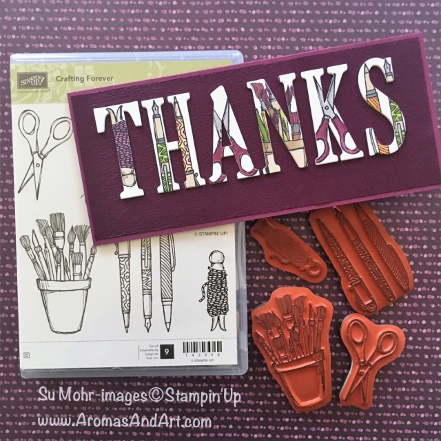 By Su Mohr for Kylie's Top Ten Nov. Blog Hop; Click READ or VISIT to go to my blog for details! Featuring: Crafting Forever stamp set, Large letters die set, Stampin' Blends, Fancy Long Card; #thankyoucards #craftingforever #handmadecards #crafts #diy #largelettersdies #alphabet #thanks