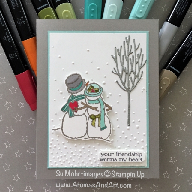 By Su Mohr for GDP163; Click READ or VISIT to go to my blog for details! Featuring: Spirited Snowmen, Stampin' Blends markers, Softly Falling embossing, In the Woods dies, Galvanized Metallic Paper; #GDP163 #spiritedsnowmen #inthewoods #stampinblends #handmadecards #christmascards #diy #crafts #snowmancards #snowman #christmascards