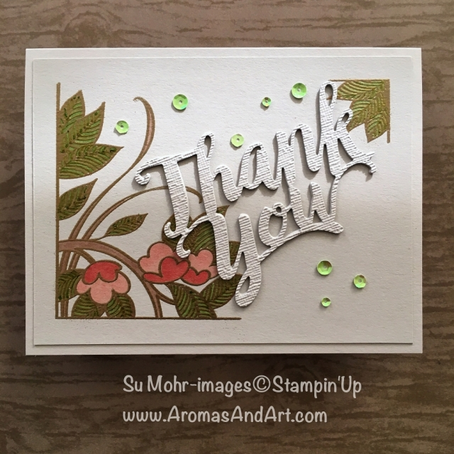 By Su Mohr for FF0020; Click READ or VISIT to go to my blog for details! Featuring: Serene Garden stamp set, Stampin' Blends, Thank You die, heating embossing, Subtle Textured embossing; #thankyoucards #serenegarden #stampinblends #coloring #handmadecards #crafts #diy #heatembossing