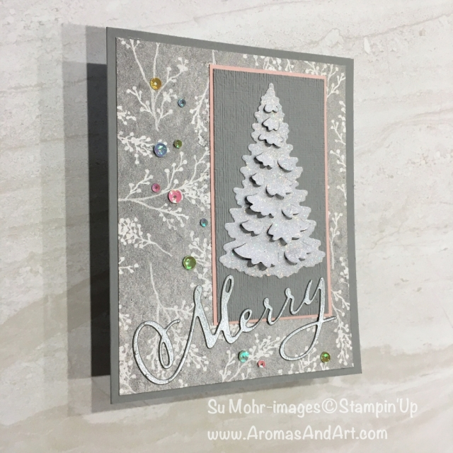 By Su Mohr for Fab Fri; Click READ or VISIT to go to my blog for details! Featuring: In the Woods die set, Merry Christmas die set, Subtle Textured embossing, Frosted Floral DSP, Iridescent Sequins; #charistmascards #holidaycards #iridescent #sparkleandglimmer #handmadecards #xmascards #diy #papercrafts