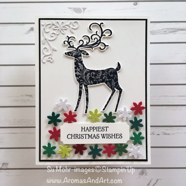 By Su Mohr for What Will You Stamp? Click READ or VISIT to go to my blog for details! Featuring: Dashing Deer stamp set, Detailed Deer die set, Merry Christmas die set; #christmascards #xmascards #handmadecards #reindeer #deeroncards #dashingdeer #crafts #diy