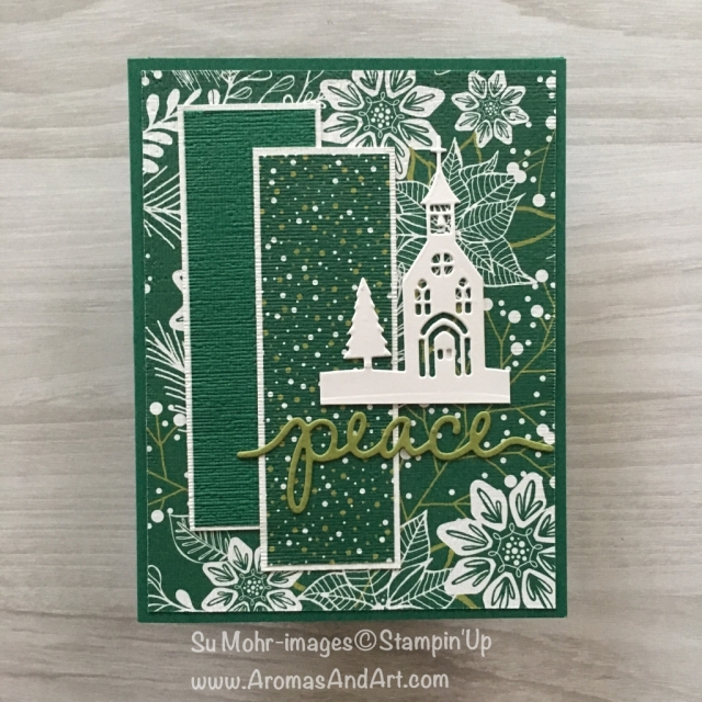 By Su Mohr for PP420; Click READ or VISIT to go to my blog for details! Featuring: Hometown Greetings dies, Under the Mistletoe DSP, Subtle Textured embossing; #christmascards #holidaycards #xmascards #churchoncards #mistletoe #subtletexture #handmadecards