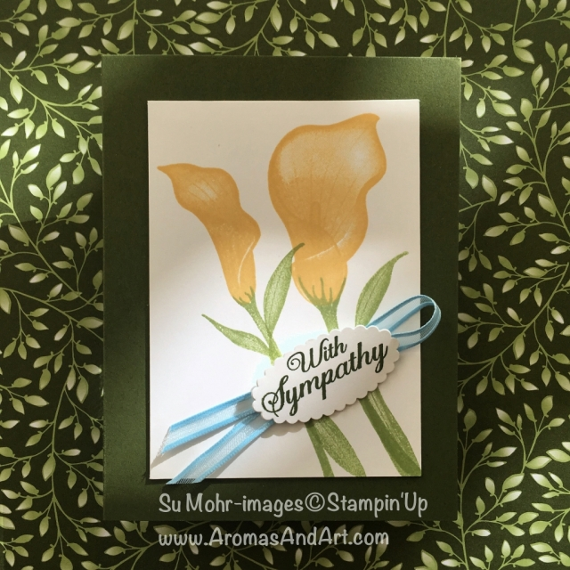 By Su Mohr; Click READ or VISIT to go to my blog for details! Featuring: Lasting Lily stamp set, Organdy Ribbon, Layering Ovals dies; #saleabration #2019occasions #lastinglily #organdyribbon #free #handmadecards #sympathycards