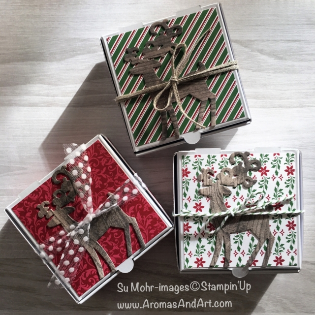 By Su Mohr for Kre8tors Dec Blog Hop; Click READ or VISIT to go to my blog for details! Featuring: Mini Pizza Boxes, Detailed Deer die set, Dashing Along DSP, Essential Oils, ribbon trim; #minipizzaboxes #smallgiftpackaging #giftpackaging #smallboxes #giftboxes #handmadegifts #stampinup #christmasgifts #diy #essentialoils #youngliving