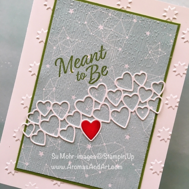 By Su Mohr for GDP169; Click READ or VISIT to go to my blog for details! Featuring: Meant To Be bundle; 2019 Occasions, Twinkle Twinkle DSP, Oh My Stars embossing, Subtle Texture embossing; #Valentinesday #valentines #valentinescards #handmadecards #meanttobe #stampinup #diy #hearts #heartsoncards