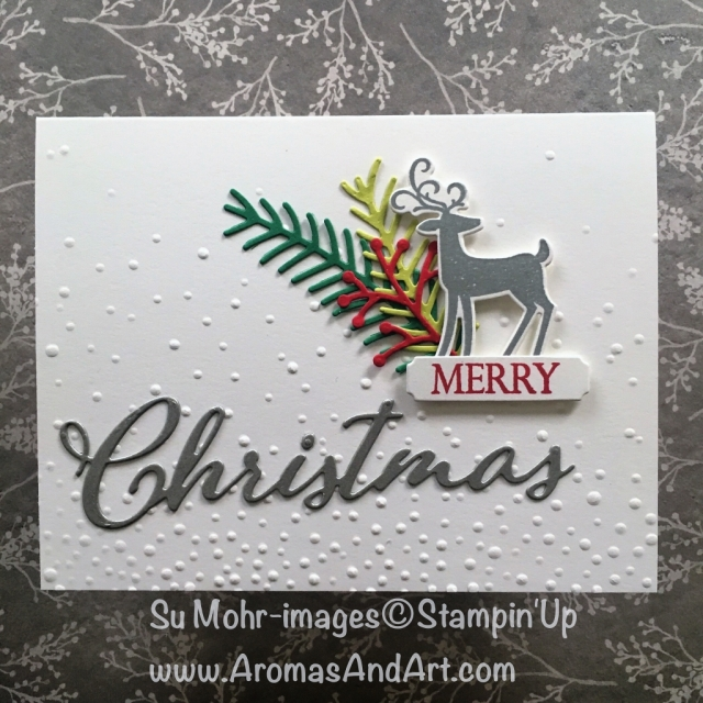 By Su Mohr; Click READ or VISIT to go to my blog for details! Featuring: Dashing Deer bundle, Merry Christmas Bundle, Pretty Pines dies, Galvanized Metallic Paper; #casing #massproducing #handmadecards #holidaycards #craftingtips #stampinup #deer #dashingalong #merrychristmas