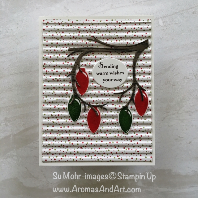 By Su Mohr for WWYS; Click READ or VISIT to go to my blog for details! Making Christmas Bright, Making Every Day bright, Christmas Bulb Punch, Still Night stamp set Night Owl die set, Corrugated embossing; #christmascards #makingchristmasbright ##stillnight #nightowl #handmadecards #diy