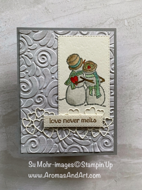 By Su Mohr for WWYS Design Team; Click READ or VISIT to go to my blog for details! Featuring: Spirited Snowmen stamp set, watercoloring, Swirls & Curls embossing, Rectangle Stitched dies, Be Mine Stitched dies; #snowmen #anniversarycards #watercoloring #heartsoncards #valentines #handmadecards #diy #papercrafts #stampinup